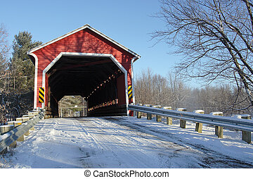 Covered bridge near Brigham, Quebec, Canada in winter
