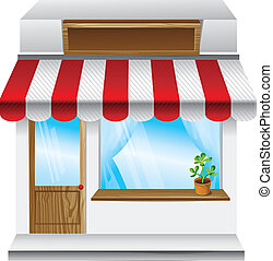 vector store with stripe awning