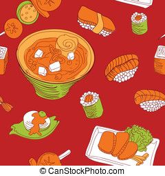 seamless pattern with japan food - vector illustration