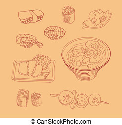 japan food icons - vector illustration