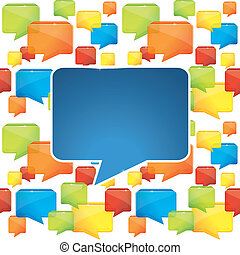social media background with speech bubbles - vector...