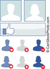 social media set - vector illustration