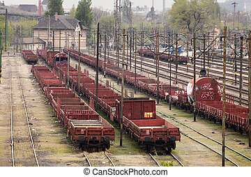Railway - Old rusty freight wagons on the rails