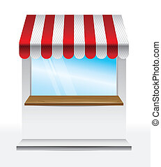 store with striped awning  - vector illustration