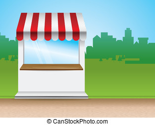 Eps Vector Of Store Window With Striped Awning Vector