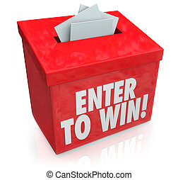 Enter to Win Red Raffle Lottery Box Entry Forms Tickets -...