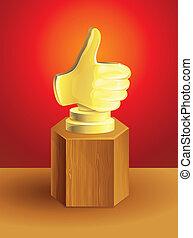 golden best choice award on wooden pedestal - vector...