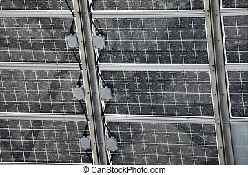 Solar panels - Back side of a solar pane installation with...