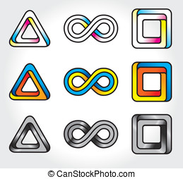 set of abstract infinite logos  - vector icons