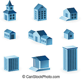 set of 9 house icons - vector illustration