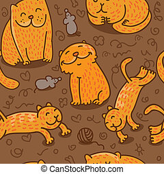 seamless pattern with cats - vector seamless pattern with...