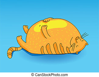 very fat cat smiling - vector illustration