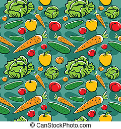 seamless pattern with vegetables and fruits - vector...