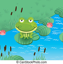 happy smiling frog - happy smiling green frog - vector...
