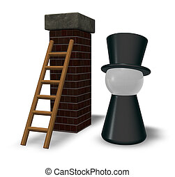 chimney sweeper and ladder on chimney - 3d illustration
