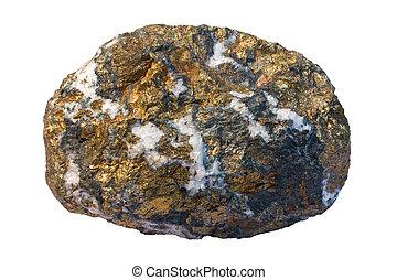 Copper ore chalcopyrite (CuFeS2) and quartz. It is a...