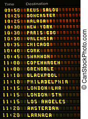 Departures board. - An electronic airport airplane...