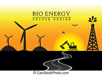 bio energy over late afternoon vector illustration