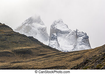 Torres del Paine - Torres del Pain geologic formation in a...