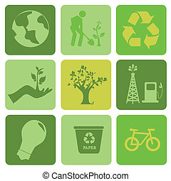 ecology icons over green background vector illustration