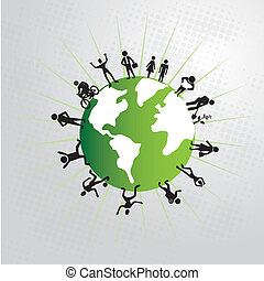 people world over gray background vector illustration
