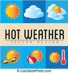 hot weather over grunge background vector illustration