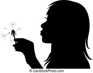 vector girl blowing the dandelion - vector profile of a girl...
