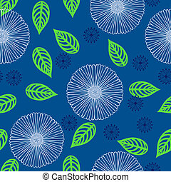 Vector pattern with flowers drawn in thin lines - Seamless...