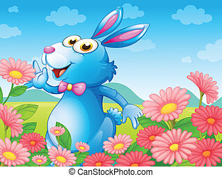 A rabbit with flowers in the garden