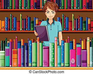 A man holding a book in the library - Illustration of a man...