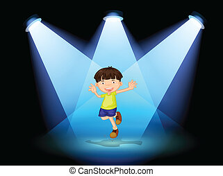 A cute little boy dancing in the stage - Illustration of a...