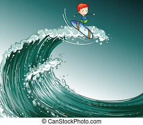 niño, Surfeo, ondas, grande