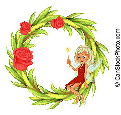 A fairy holding a wand sitting on a round leafy border -...