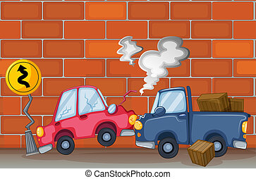A car accident near the wall - Illustration of a car...
