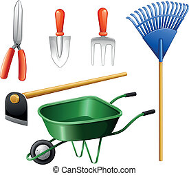 Gardening tools - Illustration of the gardening tools on a...