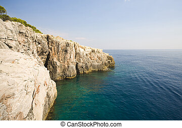 Croatian landscape - view from Locrum Island to open...