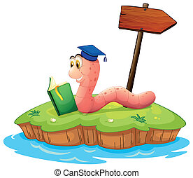 A worm reading a book on an island - Illustration of a worm...
