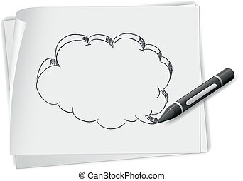 Illustration of a piece of paper with a drawing of an empty...