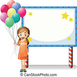 A girl with balloons standing in front of an empty board