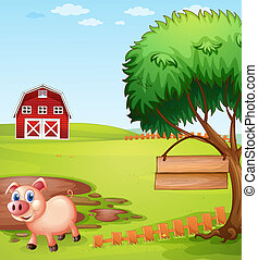 A pig near the tree with a hanging empty signboard