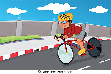 A boy biking with his safety gears - Illustration of a boy...
