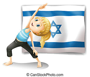 A girl performing yoga in front of the Israel flag -...