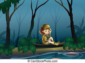 A girl sitting on a wood along the river - Illustration of a...
