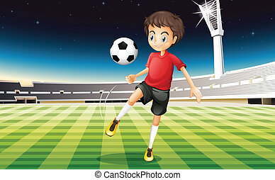 A soccer player kicking a ball - Illustration of a soccer...