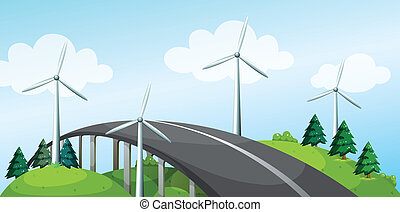 A curve bridge with windmills and pine trees - Illustration...