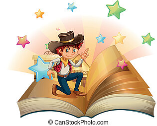 A book with a young cowboy - Illustration of a book with a...