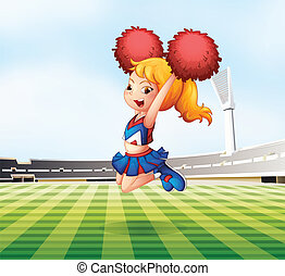 A cheerleader cheering at the field