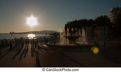 Fountain timelapse - Gelendzhik city sunset timelapse,...
