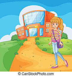 A girl going to the school - Illustration of a girl going to...