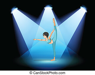 A woman dancing under the spotlights